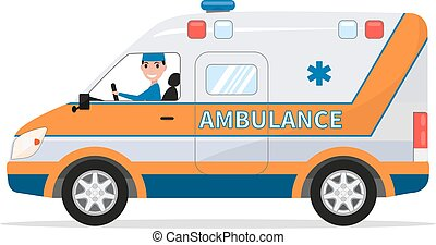 Vector cartoon van medical car with driver man