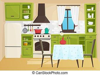 Cartoon Background Of Restaurant Interior Hand Drawn