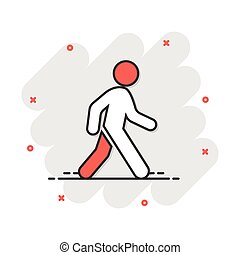 Vector cartoon walking man icon in comic style. People walk sign illustration pictogram. Pedestrian business splash effect concept.