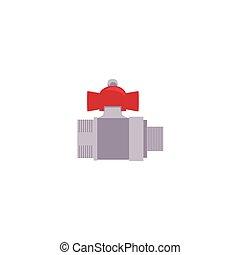 vector cartoon water valve with fitting - vector cartoon,...