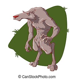 Vector cartoon werewolf