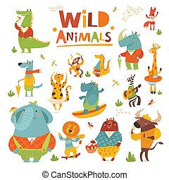 Vector cartoon Wild animals funny characters in flat style