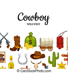 Vector cartoon wild west background with place for text