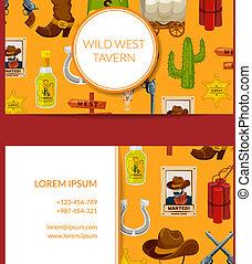 Vector cartoon wild west business card design
