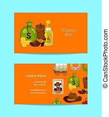 Vector cartoon wild west business card template