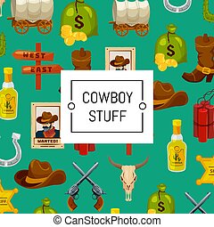 Vector cartoon wild west elements background colored
