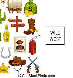 Vector cartoon wild west elements background with place for text illustration