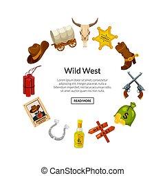 Vector cartoon wild west elements in circle shape
