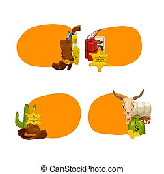 Vector cartoon wild west elements stickers isolated