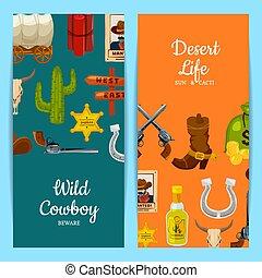 Vector cartoon wild west elements web banner templates illustration