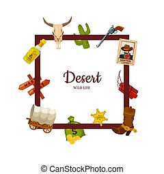 Vector cartoon wild west elements with place for text illustration