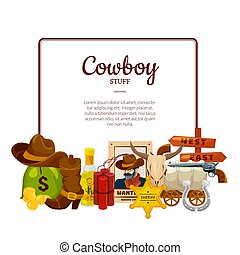Vector cartoon wild west elements with place for text