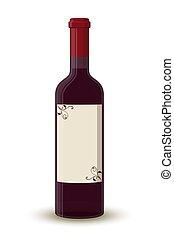 Vector cartoon wine bottle, transparent glass label