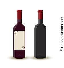 Vector cartoon wine bottles, empty transparent glass