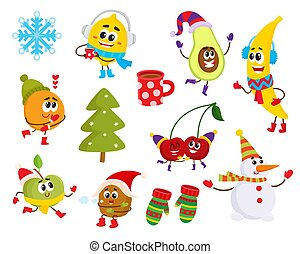 Vector cartoon winter fruit characters symbols set