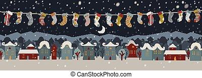 Vector cartoon winter holiday city