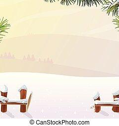 vector cartoon winter landscape