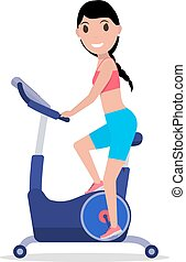 Vector cartoon woman on a Stationary exercise bike
