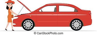 Vector cartoon woman opened hood of the automobile - Vector...
