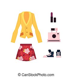 vector cartoon woman outfit apparel set