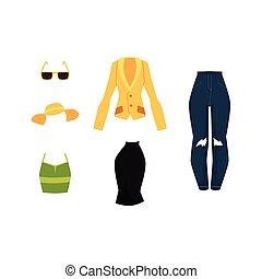 vector cartoon woman outfit apparel set