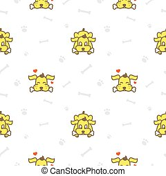 Vector cartoon yellow dog with bone seamless pattern