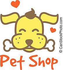 Vector cartoon yellow dog with bone logotype. Pet shop logo.