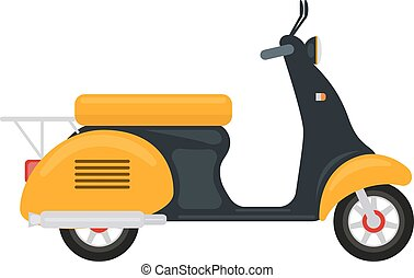Vector cartoon yellow scooter with an engine - Vector...
