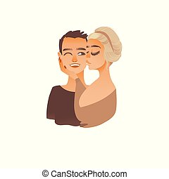 Vector cartoon young couple kissing