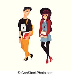 Vector cartoon young teen students set