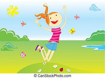Vector cartoons. nice smiling girl