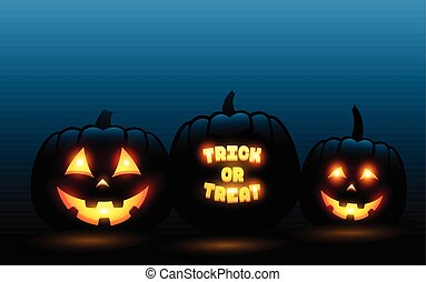 Vector carved pumpkins in front of blue gradient halloween background