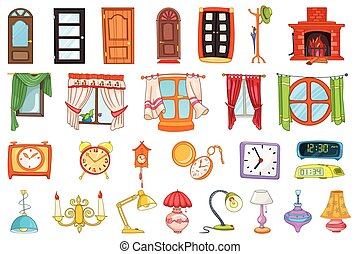 vector, casa, interior, conjunto, objects.