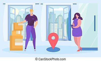vector, casa, mensajero, caricatura, servicio, empresa / ...