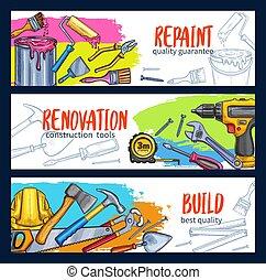 vector, casa trabajo, banderas, bosquejo, herramientas, reparación