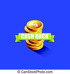 vector cash back icon isolated on blue background.