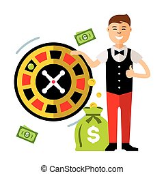 Vector Casino concept, gambling. Flat style colorful Cartoon illustration.