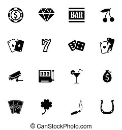 vector, casino, conjunto, negro, iconos
