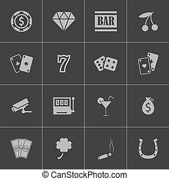 vector, casino, set, black , iconen