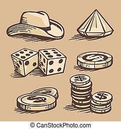 vector casino symbols and stetson. Set vintage handmade illustration.