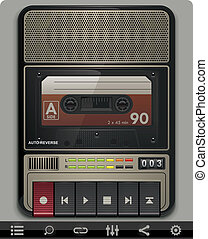Retro cassette recorder detailed template with related icons