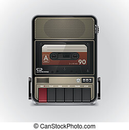 Vector cassette recorder XXL icon - Retro cassette recorder...