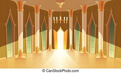Vector castle hall, interior of royal ballroom