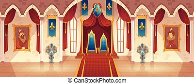 Vector castle throne hall, interior of royal ballroom