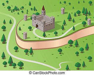 Vector castle - Vector drawing of the castle in the...