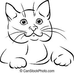 vector cat - black outline illustration