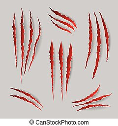 Vector cat claws marks set. Mark of claw, illustration scratch of animal claw