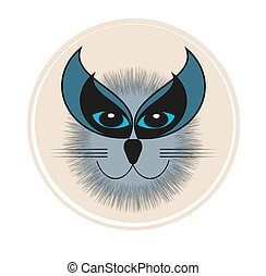 Vector Cat Face on a white background
