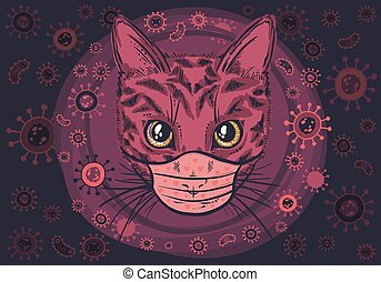Vector cat in a viral mask , covid-19