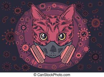 Vector cat in a viral respirator , covid-19